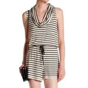 Max Studio Tan & Black Striped Cowl Neck Romper